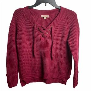 It's Our Time Chunky Lace Up Sweater Size M